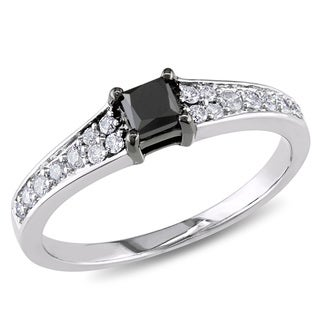 Miadora 10k White Gold 1/2ct TDW Black and White Princess-cut Diamond Engagement Ring