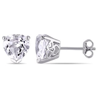 Miadora Sterling Silver Heart Shaped Created White Sapphire Solitaire Stud Earrings