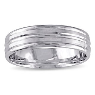 Miadora Signature Collection 10k White Gold Men's Comfort-fit Wedding Band