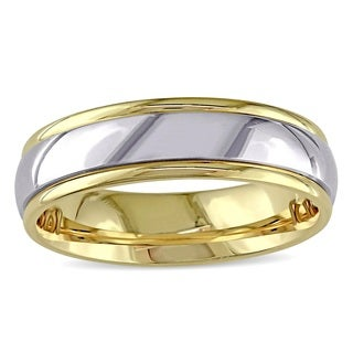 Miadora Signature Collection 14k 2-tone White and Yellow Gold Men's Comfort-fit Wedding Band