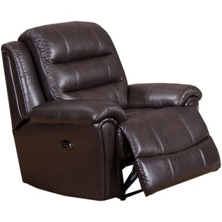 Astoria Top Grain Leather Lay-Flat Power Recliner with Memory Foam Seating and Pillow Top Arms