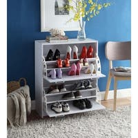Deluxe White Double Shoe Cabinet