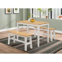 New York White and Natural Dining Table With Two Dining Benches