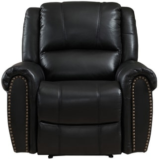 Houston Top Grain Lay-Flat Leather Recliner with Memory Foam Seating