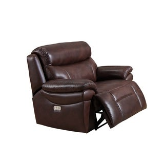 Sanford Top Grain Leather Power Reclining Armchair with Power Headrests and USB Ports : recliner chairs electric - islam-shia.org