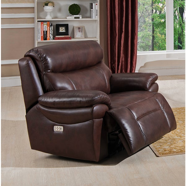 Sanford Top Grain Leather Power Reclining Armchair With