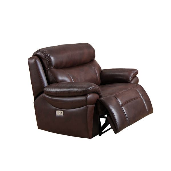 Outstanding Shop Sanford Leather Power Recliner With Power Headrest And Creativecarmelina Interior Chair Design Creativecarmelinacom
