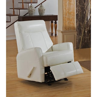 Toledo White Top Grain Leather Lay-Flat Recliner with Memory Foam Seating