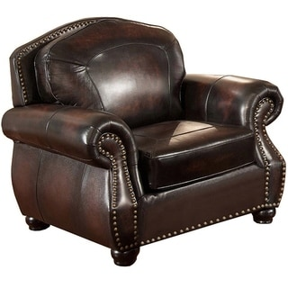 Vail Genuine Leather Armchair with Crocodile Embossing and Feather Down Seating