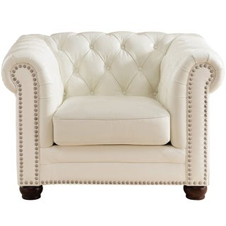 Nashville White Genuine Leather Chesterfield Armchair with Feather Down Seating