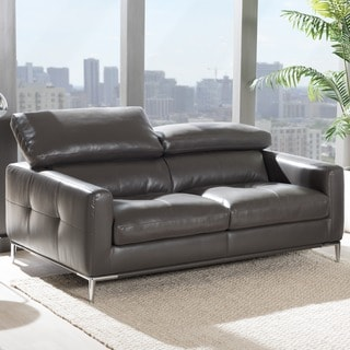 Baxton Studio Thanos Modern and Contemporary Living Room Pewter Gray Bonded Leather Upholstered 2-Seater Loveseat Settee