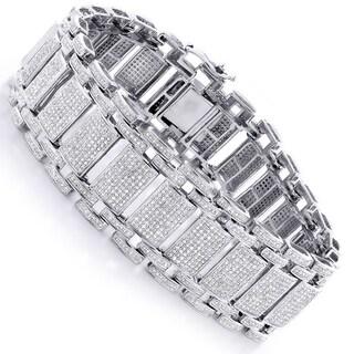 Luxurman 14k Gold 9 3/4ct TDW Men's Pave Diamond Bubble Bracelet