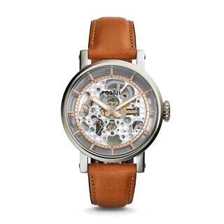 Fossil Women's ME3109 Original Boyfriend Automatic Skeleton Dial Brown Leather Watch
