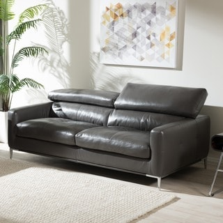 Baxton Studio Thanos Modern and Contemporary Living Room Pewter Gray Bonded Leather Upholstered 3-Seater Sofa
