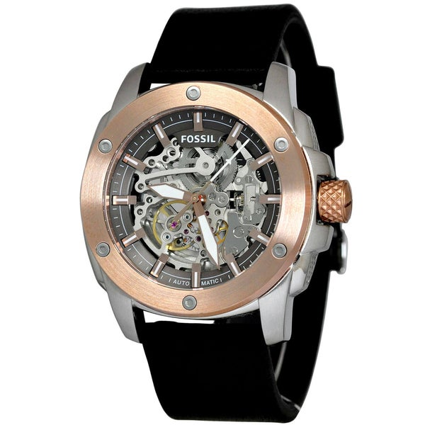 Fossil Men's Modern Machine Automatic Skeleton Dial Black Leather Watch