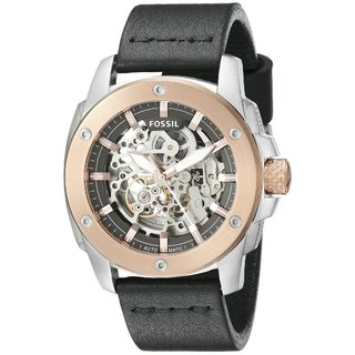 Fossil Men's ME3082 Modern Machine Automatic Skeleton Dial Black Leather Watch