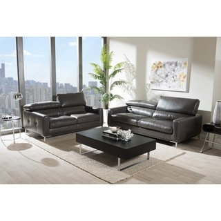 Baxton Studio Thanos Modern and Contemporary Pewter Gray Bonded Leather Upholstered 2-piece Living Room Sofa Set
