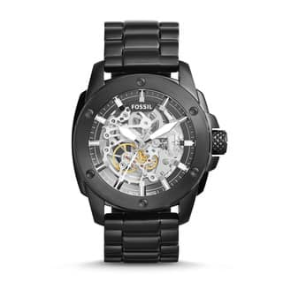 Fossil Men's ME3080 Modern Machine Automatic Skeleton Dial Black Stainless Steel Bracelet Watch|https://ak1.ostkcdn.com/images/products/11662820/P18592525.jpg?impolicy=medium
