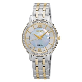 Seiko Women's SUT278 Stainless Steel Two Tone Solar Powered Watch with a Mother of Pearl Dial