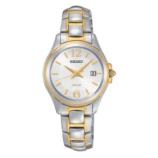 Seiko Women's SUT250 Stainless Steel Two Tone Solar Powered Watch with a Scratch Resistant Hardlex Crystal