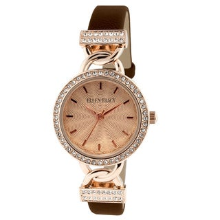 Ellen Tracy Women's ET5184RGBNRG Brown Skinny Strap Rose Goldplated Watch