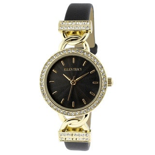 Ellen Tracy Women's ET5184GDBK Black Skinny Strap Goldplated Watch