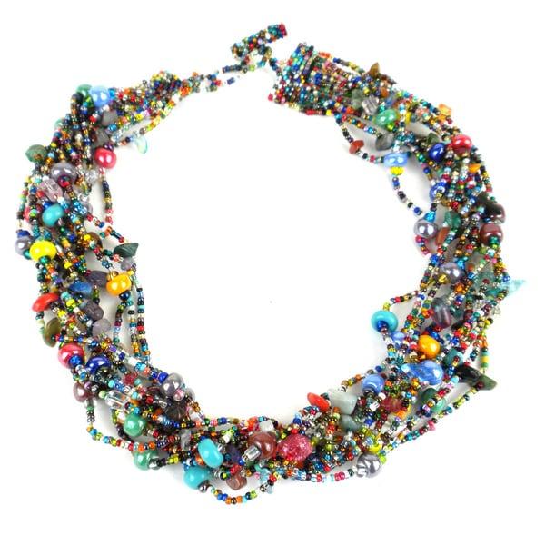 c63b05b7853fc Shop Handmade 12-Strand Beaded Necklace - Beach Ball (Guatemala ...
