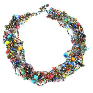 Handmade 12-Strand Beaded Necklace - Beach Ball (Guatemala)