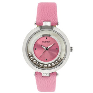 Ellen Tracy Women's ET5200 Pink Strap Silverplated Mother of Pearl Watch