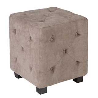 Better Living Delphia Tan-Grey Small Tufted Cube Ottoman