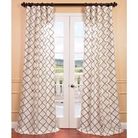 """Exclusive Fabrics Pavillion Pearl Flocked Faux Silk Curtain Panel 96"""" (As Is Item)"""