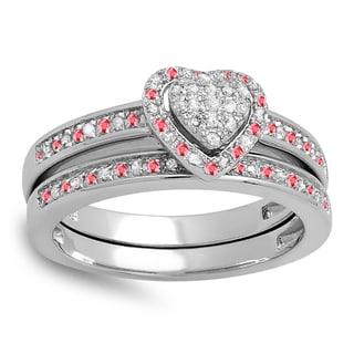 Elora Sterling Silver 1/4ct Ruby and White Diamond Heart Bridal Set (I-J, I2-I3)
