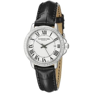 Raymond Weil Women's 5391-LS1-00300 'Tango' Diamond Black Leather Watch