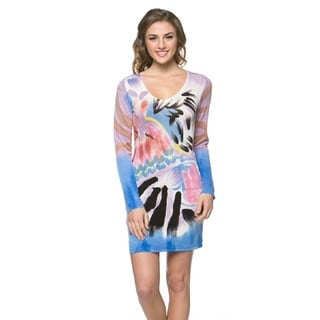 High Secret Women's Hand-painted Blue/ Purple Long Sleeve Bodycon Dress