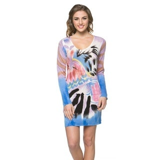 High Secret Women's Hand-painted Blue/ Purple Long Sleeve Bodycon Dress (4 options available)