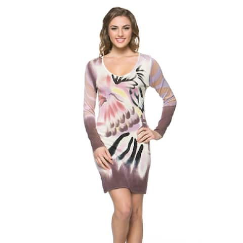 High Secret Women's Hand-painted Purple/Brown Long Sleeve Bodycon Dress