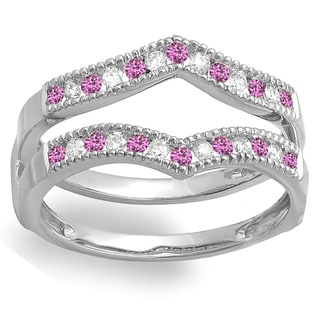 14k White Gold 1/2ct White Diamond and Pink Sapphire Milgrain Wedding Guard Double Ring (H-I, I1-I2)