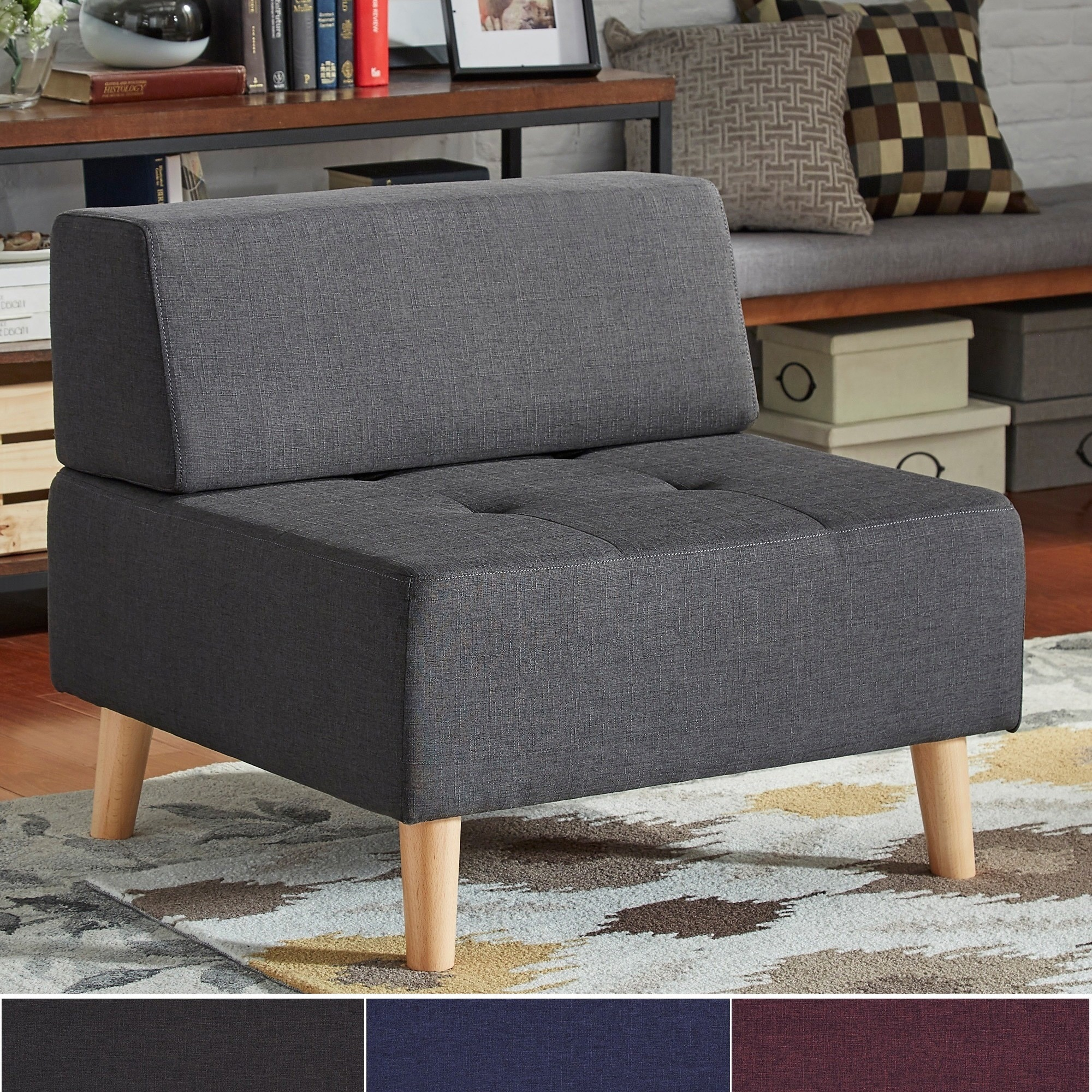Soto Modern Upholstered Modular Ottoman Chair iNSPIRE Q M...