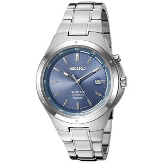 Seiko Men's SKA729 Titanium Kinetic Watch with a Blue Dial and 6 Month Power Reserve