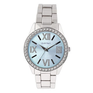 Ellen Tracy Women's ET5190 Silverplated Bracelet Light Blue Sunray Dial Watch
