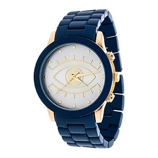 Xtreme NYC Boyfriend Women's Gold Case and Evil Eye Design Print Dial / Blue Rubber Watch