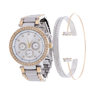 Fortune NYC Arm Candy Ladie's Fashion Gold CZ Watch with a Set of 2 Bracelets