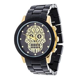 Xtreme NYC Gold Case Evil Eye Hand Print Dial / Black Strap Hamsa Watch