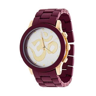 Xtreme NYC Women's Gold Case and OHM Design Print Dial / Red Strap Watch