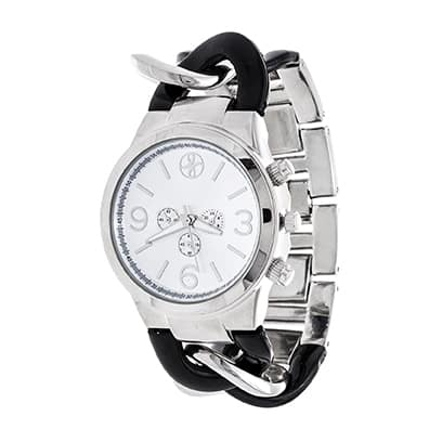 Fortune NYC Ladies Silver Case with Curb Link Black Alloy Strap Watch