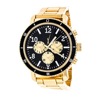 Xtreme Men's Jumbo Multi-Function Gold Case and Black Dial / Gold Strap Watch