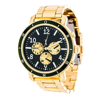 Xtreme Men's Multi-Function Gold Case and Green Dial / Gold Strap Watch