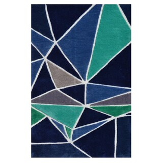 Hand-Tufted Fragment Boy Blue /Polyester Area Rug (2'8X4'8) - 2'8 x 4'4