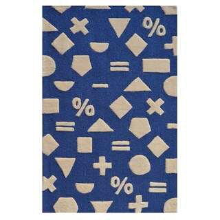 Hand-Tufted Math Dot Navy Blue /Polyester Area Rug - 2'8 x 4'4