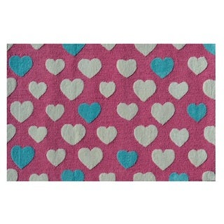 Hand-Tufted Heart Dot Pink /Polyester Area Rug (2'8X4'8) - 2'8 x 4'4